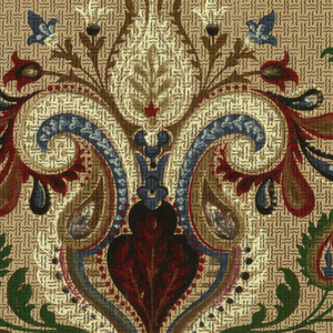 Two identical borders (to be cut). Large scrolled center motif and leaves and tendrils in dark red, green, blue, and off-white on beige ground imitating basket weave.