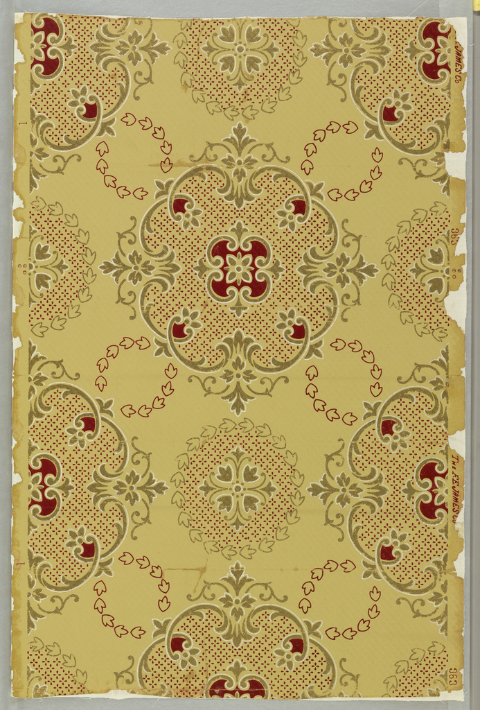 A series of approximately circular figures, the largest of which has scrolled frame with red center motifs. Printed in gold, white and red on dull yellow embossed ground.