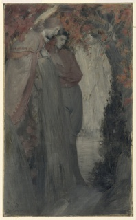 A man and a woman standing at left, looking to the right. Leaves and shrubbery around and overhead. Water or an open space beyond, center.