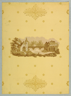 An unframed medallion of a landscape of a church, three-arched bridge over a stream and a group of old buildings. At top and bottom of medallion is a stylized four pointed leaf motif. Field of paper evenly strewn with tiny petalled flowers. Reproduction of an old hand blocked linen dated 1774. Printed in shades of bronze on buff field. Not original colors.