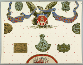 """Eagle holding ribbon with motto: """"Hose Company"""". In its talons is a shield with inscriptions: """"Water Witch No. 2"""". Below, insignias of insurance companies. In brillian colors on white ground with diagonal pattern of red stars. On margin: """"Fire Brigade"""", an Exclusive Schumacher Hand Print""""."""