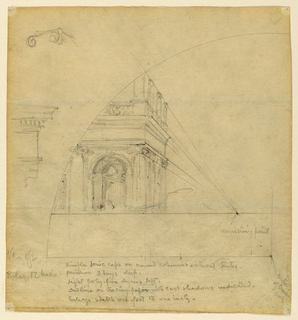 Sketch of a corner of a building with detail and perspective lines from one vanishing point.