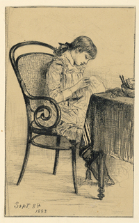 Young girl is seated in a bentwood canned chair in fromn of a table. She appears to be either sewing or embroidering.