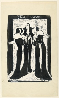 Group of four admirers surrounding an actress at the stage door. All dressed alike in black coats with white fox collars.