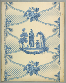 "Design is composed of two alternating motifs on a central axis, one is a small spray of roses and the other is pictorial showing a woman, child and begging squirrel, on one side of a tree, on the other a portion of a trellis with flowering vine. Background divided in panels. One has all-over dots and the other is plain. It is Empire design and reproduced from paper in an old New Hampshire house. Original paper was hung in 1803. Printed on reverse: Birge trademark. ""22 sidewall, 3155 H, waterfast, light resisting.French Colonial"". Printed in shades of blue on ivory field. Original colors"