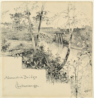 Wooden bridge shown from the Confederate side of the river.