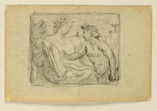 Sketch of a seated female figure in conversation with a younger male figure.
