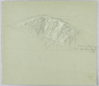 Sketch on top half of paper. View of rocky ledge with foliage at its base and mountains indicated in the distance.