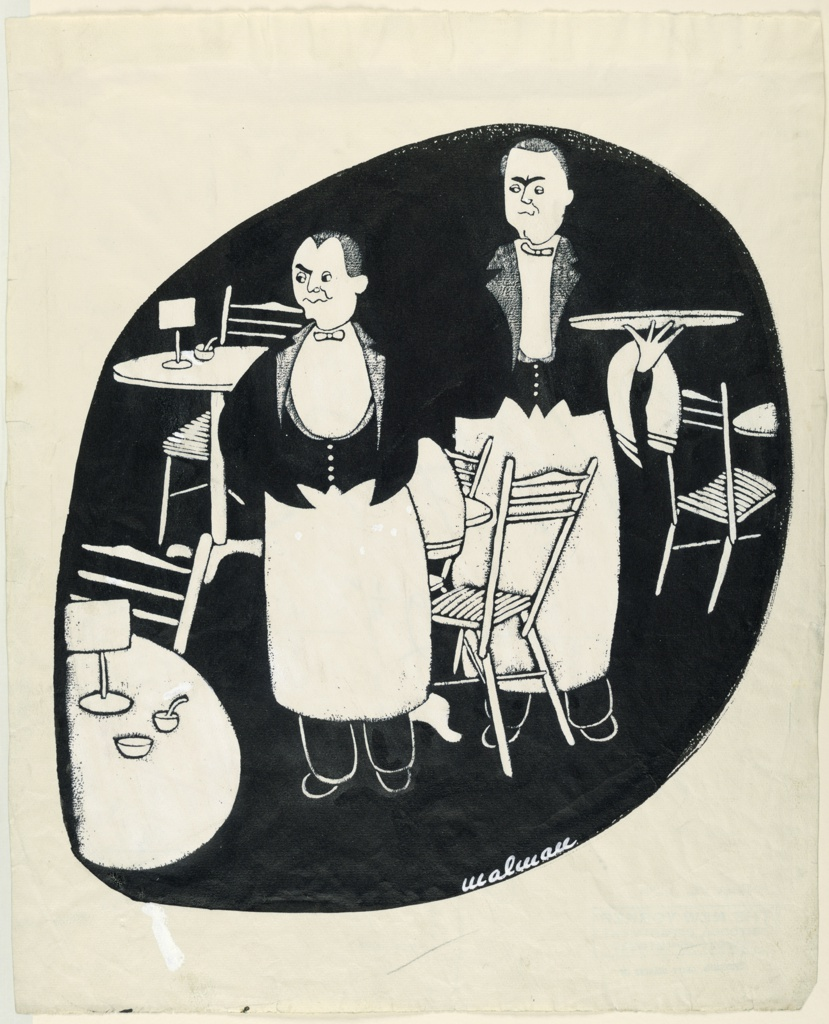 Vertical rectangle. Two waiters standing in an outdoor cafe with empty tables, black mass in shape of an egg, design painted in Chinese white.