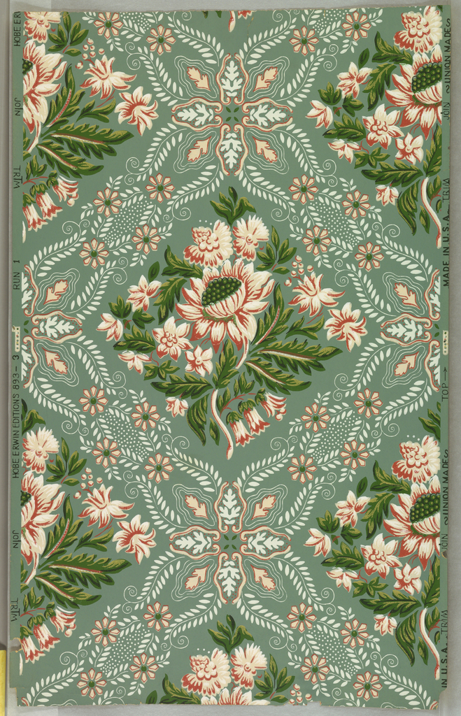 Large lotus and various flowers enclosed in lacy lattice. Pink, white and green on bluish-green ground. Drop-repeat, straight match.