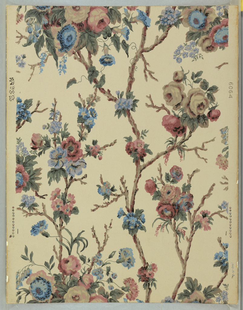 Ascending branch scheme, branches terminating in clusters of gray, pink, and blue roses, occassional morning glories, pink and blue carnations, and other blossoms. The vertical repeat is long for its width and the match is dropped at the sides. Printed in eleven colors on cream ground.