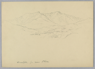 Wooded valley, center. Ridges, left and right. Mountain, center.