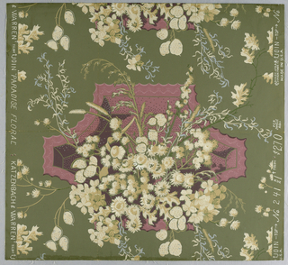 Design of bouquets of flowers and grasses shown against pink shield on green ground. This is an approved Colonial Williamsburg Commemorative paperhanging inspired by an English textile in the second half of the 18th century. The Chinese plate is taken from an old design. The dried flowers were painted from an arrangement made for the Little Dining Room in the Governor's Palace.