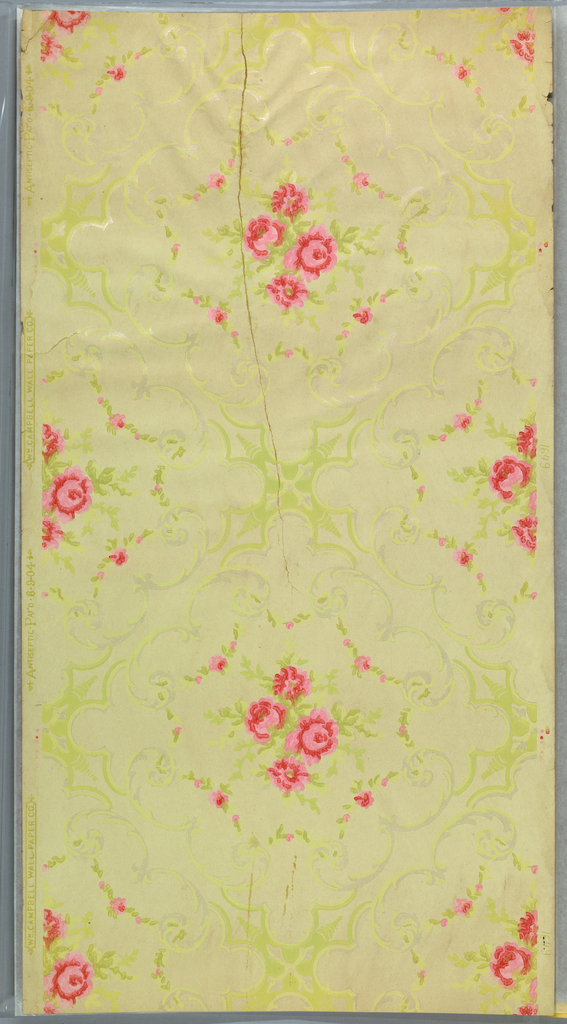 Forming a square framework, a center motif of roses, enlosed by floral/foliate swags suspended from scrolls. Printed in pink, green and white mica.