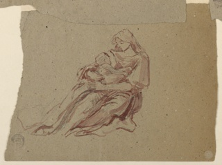 Sketch of a seated female figure holding a young child.