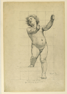A  young male figure standing with arms extended. The paper is squared for transferring the image.