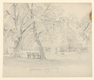 Sketch of a park with figures playing with a dog.