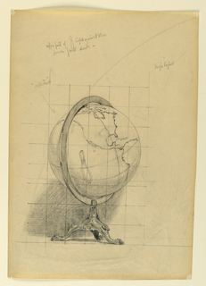 Sketch of a globe, or spherical model of Earth turned to indicate the continents of North and South America, on a tripod stand. The paper is squared for transferring the image.