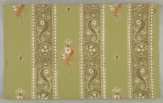 Three broad vertical stripes, paisley-printed, with drop-repeated paisley motifs between them. White, brown and orange on olive green ground.