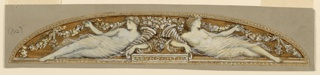 """Project for a painted lunette in the old Equitable Building, New York City. Two women, recumbent, symmetrical to the axis. They hold cornucopias in their arms and support festoons with their hands. """"ABVNDANTIA"""" written on a tablet in the bottom center."""