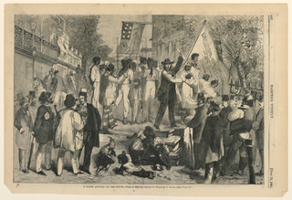 Horizontal outdoor scene with a raised platform at center with a group of African-Americans standing on it and facing the spectator.  The auctioneer is standing on the right of the platform, while number of men stand to the right and left in front.