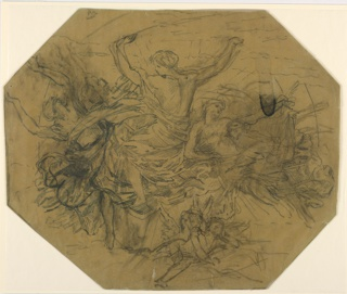 Sketch of an octagonal ceiling panel with figures in loose garments.