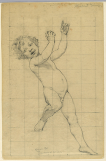 A young male figure standing with his arms raised. The paper is squared for transferring the image.