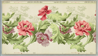 """Wide frieze: continuous horizontal serpentine band of pink and lavender peonie-like flowers and green foliage. Printed in selvedge: """"Wm. Campbell Wall Paper Co. Antiseptic pat'd 8-9-04"""""""