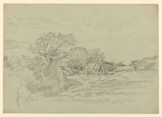 Sketch of a pasture and buildings with mountains in the background.