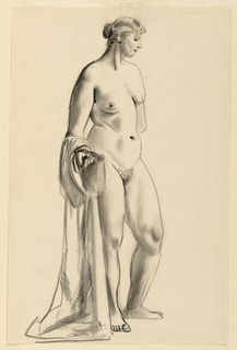 Standing nude female figure in a relaxed contrapposto pose. Drapery is gathered over her right arm.