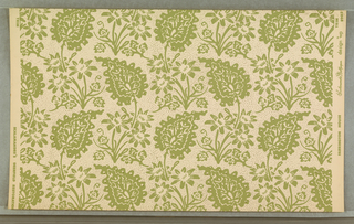 "On white ground, fill of irregular small dots, pattern of flat, paler green curving foliage flowers. Printed in margin: ""Farrington House Scalamandre Wallpaper design wp No. 8902/ Scalamandre's Deerfield Restoration."""