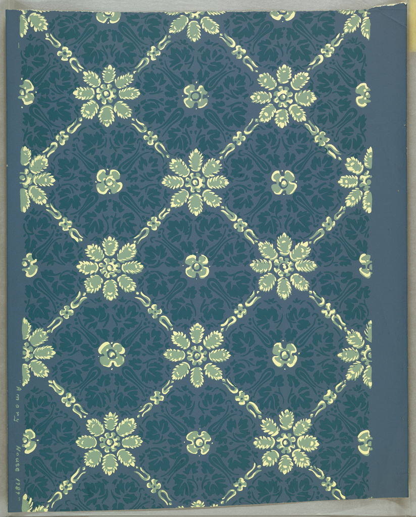 Pale green and white eight-petaled rosettes and trellis on grayish blue ground filled with blue leaf and scroll pattern; after late 18th century original.