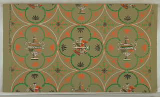 "On olive-drab ground, pattern in beige, bright orange, bright green, dull green. Beige circles, three across, enclosing figures with four lobes enframeing urn, alternately harp, horns, etc. Classical revival scroll and foliate ornament. Printed in margin: ""Museum Collection Scalamandre Wallpaper design No. 8761""."