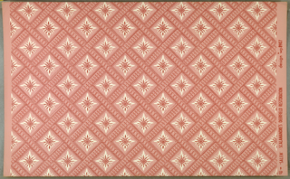 a) Pink quatrefoil in openings of lattice formed by white embroidery-like basket-woven bands. On blue ground (original coloring); b) Pink on pink. Reproduced from original lining of trunk.