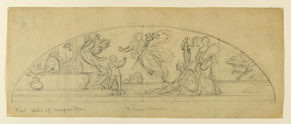 Sketch of a lunette with a seated female figure, attended by a group of figures.