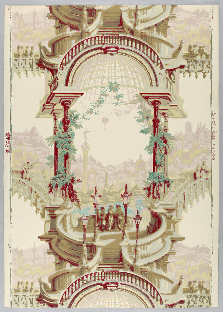 """An open garden pavilion with domed roof. Vines grow about the slender columns. Entered by means of elaborate arrangement of steps and bridges. The latter of Gothic architecture. A balloon ascension is shown over the distant city. Probably has some connection with balloon invention of Montgolfier brothers in 1783. Scene is fanciful and imaginary. Original paper was in a house in Manchester, New Hampshire, where Mrs. Lars Anderson was born. Printed on margin: """"The Cevera, 5481."""""""