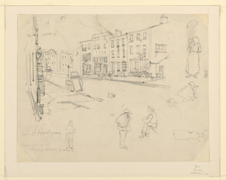 "Horizontal rectangle. View of a street, with tenement houses. Sketches below, and to right, of figures. At lower left, in pencil: ""J. S. Hodgson Hersey St. N.Y. Rear of Niblo's Garden."""