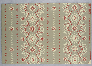 Design showing conventionalized floral forms arranged in stripes and printed in old rose and white on a gray ground.