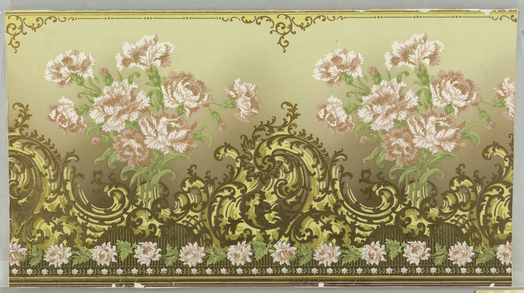 Large bunches of pink carnations repeat horizontally above a continuous wave. Design richly laid with gold leaf. Floral bands at bottom. Graded cream and brown ground. Gold leaf.