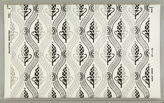 "On white ground, pattern in gray and white: vertical serpentine bandings, with rosettes at contiguous points between bandings, enframing stylized gray and white pineapples. Printed in margin: ""Derby House"" Shelburn Collection."