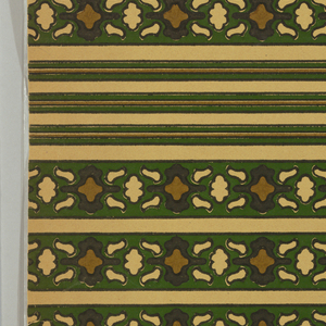 """a) Wide border and two narrow borders with three very narrow bandings printed on one sheet. On cream ingrain paper, bold curving motifs in dark green and brown, outlined in black; b) Six narrow borders and three very narrow bands duplicating those in """"a"""". """"c"""" duplicates """"b""""."""