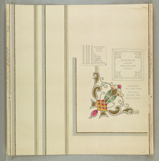 Stylized floral motif, set within corner gray band. Includes two diagrams for installing paper. Printed on white ground.