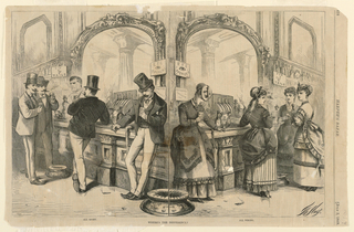 A bar scene divided vertically in two parts.  In the right half, four women stand against a bar with a large mirror behind.  One inebriated woman, on the left, holds a glass in her right hand while three other women, to the right, holding glasses converse with each other.  In the left half of the scene, one inebriated man looks downward toward the glass in this left hand; to the left another man, viewed from behind, leans on the bar while two other men raise their glasses.  In the lower margin, beneath the men's scene:  All Wrong; beneath the female scene:  All Wrong; in the middle:  Where's the Difference.