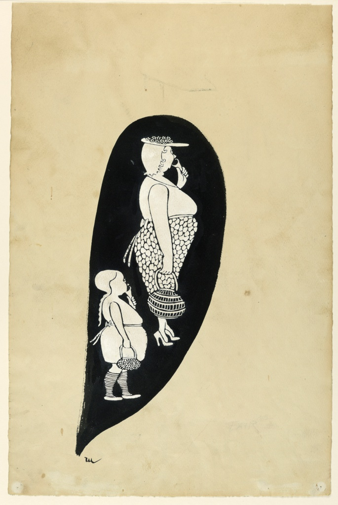 Mother and child in summer clothes, profile, each eating ice cream cone. Design in white against black background.