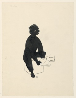 Silhouette of a boy in black ink, eyes and mouth left white. Lower right, outline of shoe he is shining.