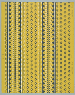 "Design inspired from East Indian cotton print in striped effect. One stripe is composed of leaf design, the other of lozenges with round discs. Printed by Strahan, U.S.A. This paper was reproduced from an old one found in farmhouse on Gov. Goodwin's farm in No. Berwick, Maine. Land records show farm to have been set up in 1750. This paper was applied to wall in squares. Printed on margin: ""7418 Goodwin""."