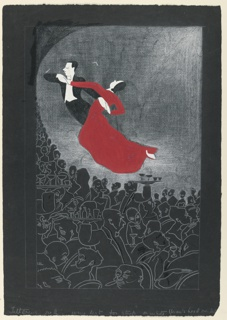 View of far side of night club. Faces and figures in white outline on black. Upper half shows white half circle in which a couple are dancing - the man in formal evening clothes and woman in red dress.