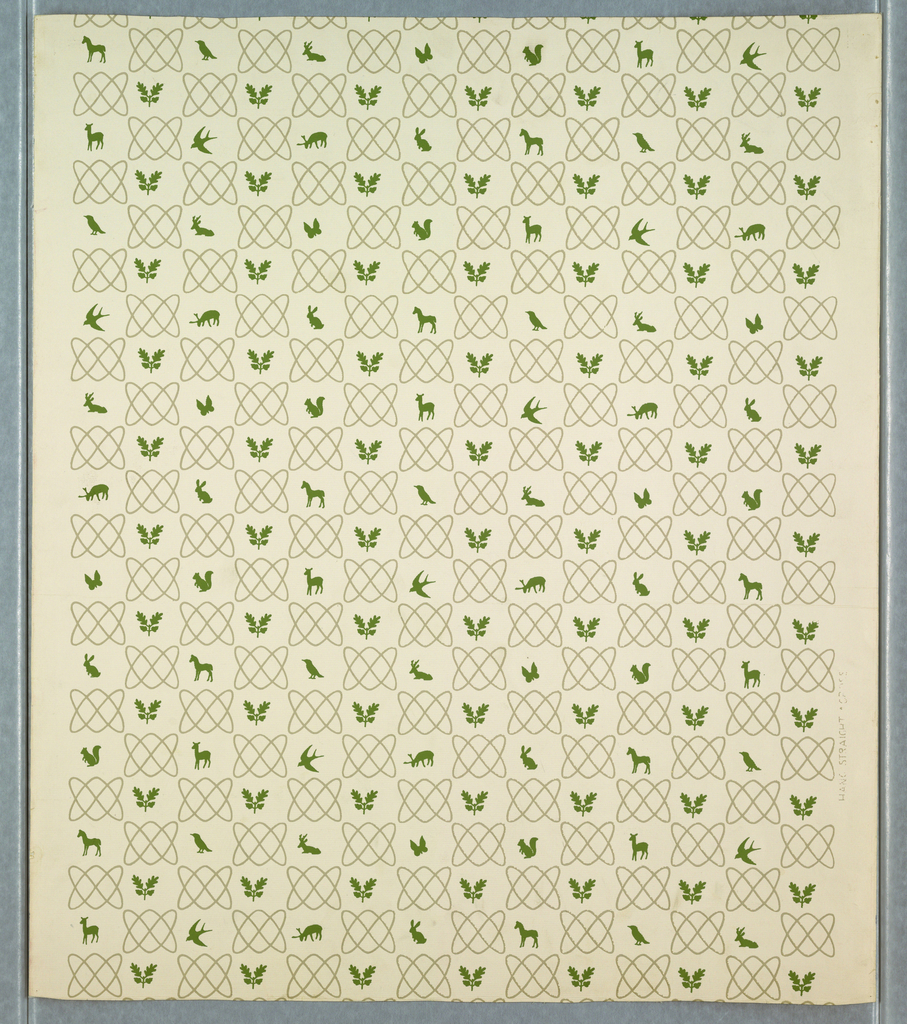 Horizontal motif of gray interlacing lines alternating in drop-repeating scheme with small green silhouettes of animals and birds and with a motif of oak leaves and acorns. The vertical repeat allows for nine of these animal silhouettes. Printed on embossed white ground.