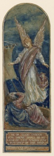 A long panel with arched top. St. Paul lies on the deck of a ship; an angel appears before him.