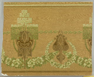 Conventionalized tulips and scrolls in gold, every other surrounded by green mottled rectangle. Connecting green flower garlands. On mica-coated paper imitating woodgrain.